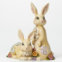 Jim Shore Heartwood Creek Two Bunnies with Flowers