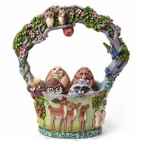 Jim Shore Heartwood Creek Woodland Basket w/ 5 Eggs