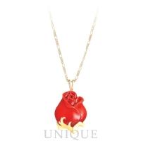 Franz Porcelain Red Rose Necklace