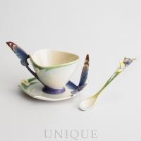 Franz Porcelain Butterfly: blue cup & saucer set