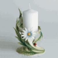 Franz Porcelain Ladybug: Pillar Candleholder