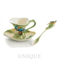 Franz Porcelain Amazon Rain Forest (parrot): Cup & Saucer