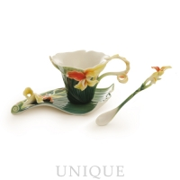 Franz Porcelain Brilliant Blooms canna lily: cup, saucer set, and spoon set