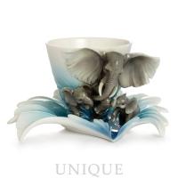 Franz Porcelain Safari Elephant: Cup & Saucer
