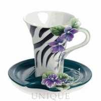 Franz Porcelain Safari Jewels of the Jungle: Zebra porcelain cup and saucer set