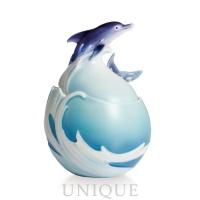 Franz Porcelain Dolphin Splash: sugar jar