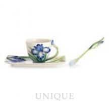 Franz Porcelain Eloquent Iris flower porcelain cup/saucer set