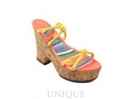 Just the Right Shoe Cork Wedge Tangerine
