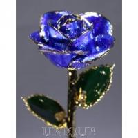 Living Gold Roses Blue Sparkle Rose Trimmed in 24k Gold