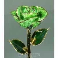 Living Gold Roses Dark Green Sparkle Rose Trimmed in 24k Gold