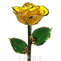 Living Gold Roses Yellow Sparkle Rose Trimmed in 24k Gold