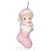 Precious Moments Baby's First Christmas - Dated 2014 Girl Ornament