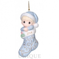 Precious Moments Baby's First Christmas - Dated 2014 Boy Ornament