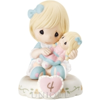 "Precious Moments ""Growing In Grace Age 4"" Blonde Girl Figurine"