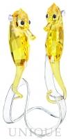 Swarovski Crystal Seahorses, Light Topaz