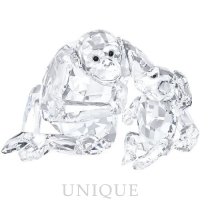Swarovski Crystal Chimpanzee Mother With Baby