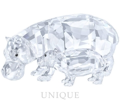 Swarovski Crystal Hippo Mother with Baby