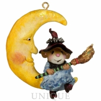 Wee Forest Folk Broom to the Moon! Ornament