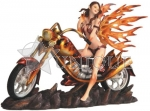 Sexy Red and Orange Fire Fairy on Motorcycle with Flames
