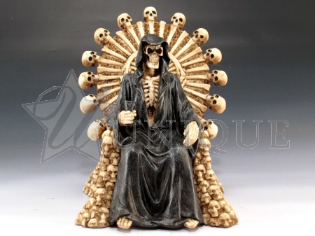 Grim Reaper with skull chair