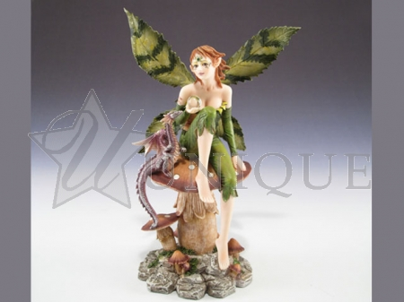 Fairy with mushroom and dragon.