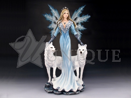 Snow fairy with two white wolves/wolf
