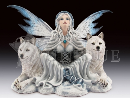 Sitting fairy with white wolves/wolf