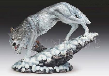 Snow wolf roaring