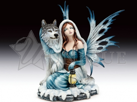 Snow fairy with wolf and lantern