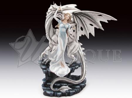 White dragon with fairy