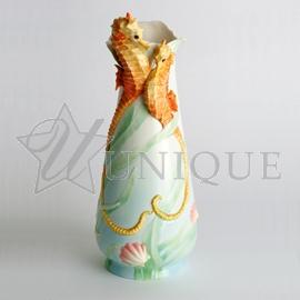 Seahorse: Porcelain Flower Vase