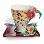 Safari Jewels of the Jungle: Leopard porcelain cup and saucer set