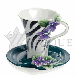 Safari Jewels of the Jungle: Zebra porcelain cup and saucer set