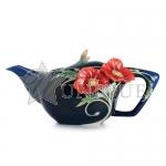 The Serenity poppy flower porcelain teapot