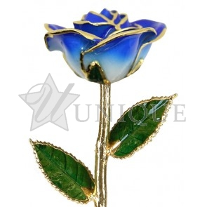2-Tone Dark Blue Rose Trimmed in 24k Gold (September)