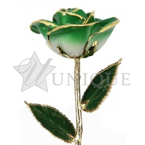 2-Tone Dark Green Rose Trimmed in 24k Gold (May)