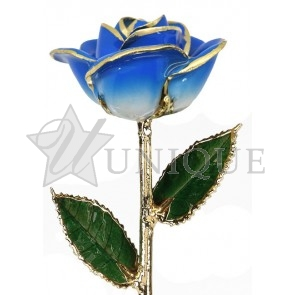 2-Tone Light Blue Rose Trimmed in 24k Gold (March)