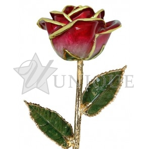 2-Tone Red Rose Trimmed in 24k Gold (January)