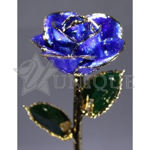 Blue Sparkle Rose Trimmed in 24k Gold