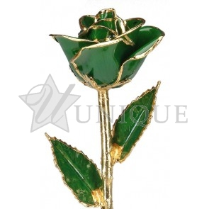 Dark Green Rose Trimmed in 24k Gold (May)