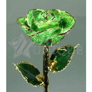 Dark Green Sparkle Rose Trimmed in 24k Gold