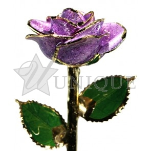 Lavender Sparkle Rose Trimmed in 24k Gold
