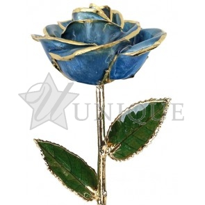 Light Blue Rose Trimmed in 24k Gold (March)