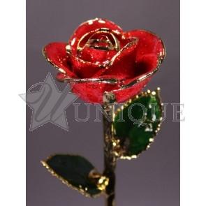 Red Sparkle Rose Trimmed in 24k Gold