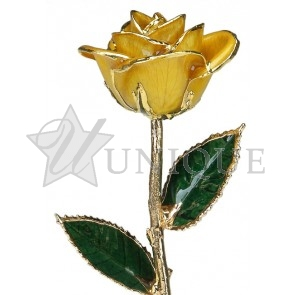 Yellow Rose Trimmed in 24k Gold (November)
