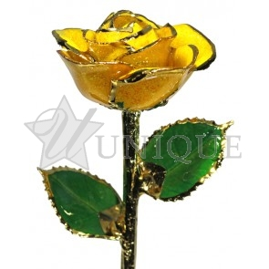 Yellow Sparkle Rose Trimmed in 24k Gold